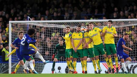 Chelsea's Willian sees his first half free-kick sail over the crossbar. Picture: PA