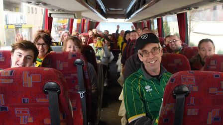 City fans on the coach ready to head to Stamford Bridge and face the might of Chelsea. Picture: Deni