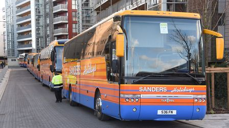 Coach loads of Norwich City fans get ready for the journey to London. Picture: Denise Bradley