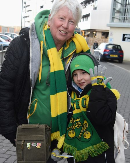 Jo Campbell and her grandson Dylan get ready to head to Stamford Bridge. Picture: Denise Bradley