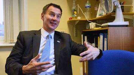 Health minister Jeremy Hunt during his visit to Hellesdon Hospital. Picture: DENISE BRADLEY