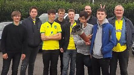 Peter Steward, his son Ben and his friends at the Reading game. Picture: Peter Steward