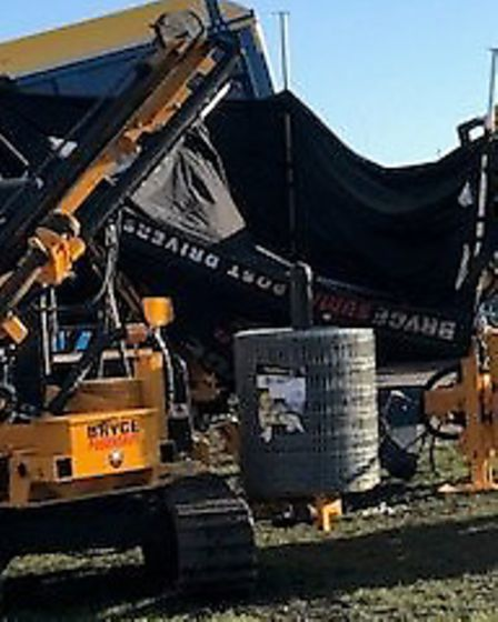 Wind damage forced the closure of the Lamma farm machinery show in Peterborough. Picture: Will Mall