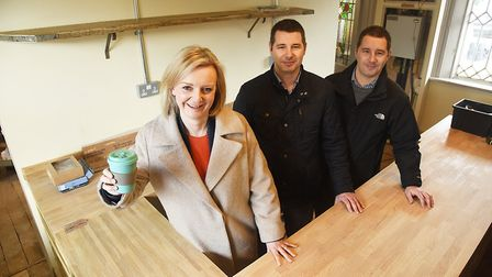 The new Railway Arms at the station in Downham Market is due to open in February. Pictured with Liz