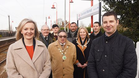 On the platfrom at Downham Market are (from left) Liz Truss MP, cllr Tony White, Joshua Eagle, town