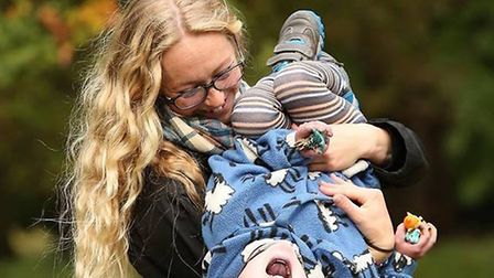 Kaiden Griffin playing with mum Kyra. Picture: Fae Loudon.