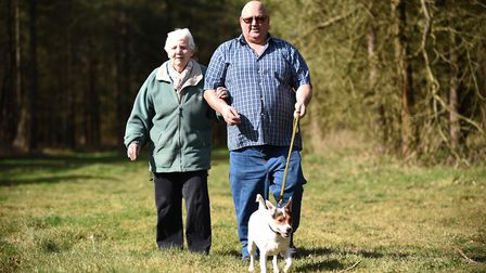 Taking their dog Buster for a walk in the sunshine are Kevin Gower and his mum Shirley Gower at Grea