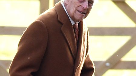 The Duke of Edinburgh arrives to attend the morning church service at St Mary Magdalene Church in Sa