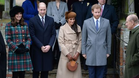 The Duke and Duchess of Cambridge, Meghan Markle and Prince Harry leave the Christmas Day morning ch