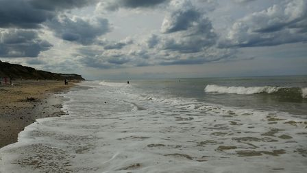 The tide coming in on a cloudy winter day at Cromer. Picture: Carmina McConnell