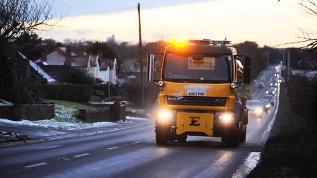 A gritting lorry out on the roads in King's Lynn. Picture: Ian Burt