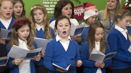 Youngsters from Harleston Primary School performing in the East of England Co-op. Picture: Anglia Pi