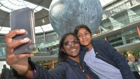 Seshni Mohammed and her daughter Samia at the Museum of the Moon at The Forum during the 2017 Norfol