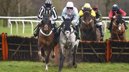 Artifice Sivola, under Maxime Tissier, on the way to victory in the feature race at Fakenham. Pictur