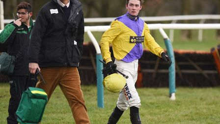 Jack Quinlan walked away from a fall on Mariah's Legend in the third race at Fakenham. Picture: Ian