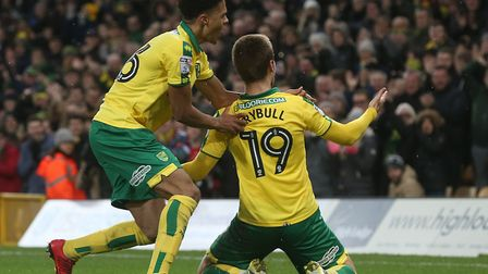 Tom Trybull celebrates equalising for Norwich City in their victory over Millwall at Carrow Road - a