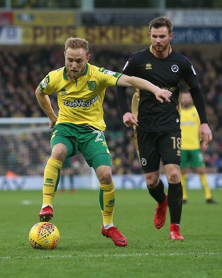 The impressive Alex Pritchard on the ball for the Canaries.