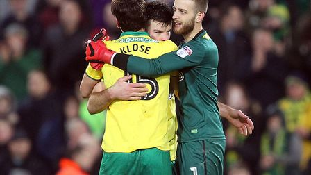 Angus Gunn, Grant Hanley and Timm Klose celebrate a positive start to the New Year for Norwich City.