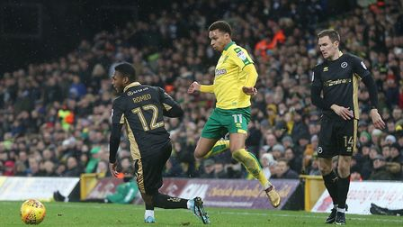 Mahlon Romeo of Millwall and Josh Murphy of Norwich in action during the Sky Bet Championship match