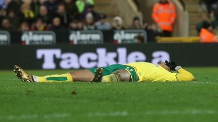 Josh Murphy of Norwich lays prone after he just can't quite get on the end of a cross during the Sky
