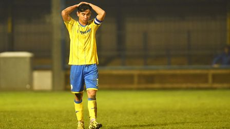 King's Lynn Town's Michael Clunan missed a penalty at Kettering. Picture: Ian Burt