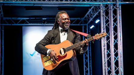 Levi Roots on stage at the EDP Business Awards 2017. Picture: Simon Finlay Photography.
