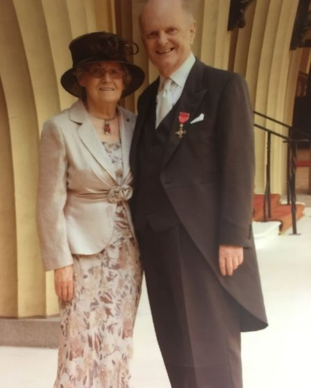 Peter Sindall with his wife Margery after being made an MBE. Picture: COURTESY OF SINDALL FAMILY
