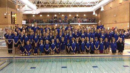Thetford Dolphins swimmers line up for a team photo at the club's recent mini gala. Picture: Tony Da