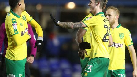 Goal scorer Josh Murphy enjoys the moment with fellow youngster James Maddison,