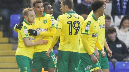 Alex Pritchard opened the scoring in Norwich's 2-0 Championship win at Birmingham. Picture: Paul Ch