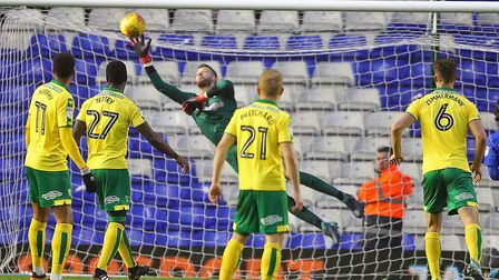 Angus Gunn at full stretch during a rare moment of concern for the Norwich City keeper at St Andrews