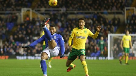 David Davis of Birmingham City clears the ball ahead of Jamal Lewis of Norwich during the Sky Bet Ch