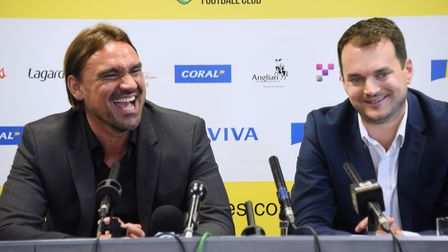 All smiles for Daniel Farke and Stuart Webber at the German head coach's unveiling at Carrow Road. P