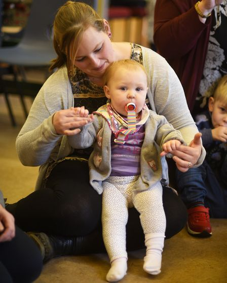 A group of Sprowston childminders and their cared for children at Sprowston Methodist Church. PHOTO: