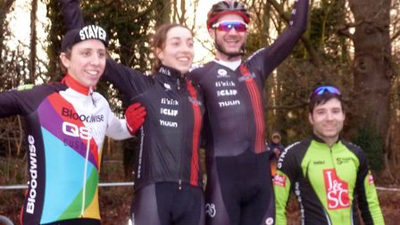 Sophie Wright joins her Renvale team boss and winner Steve James on the podium, with James Madgwick,