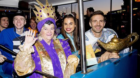 Ann Widdecombe pictured in Lowestoft last month with Marina Theatre panto stars in a Christmas parad