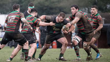 North Walsham power forward during a tough battle with Fullerians. Picture: Hywel Jones