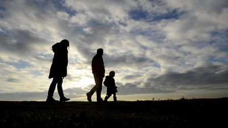 Walkers on the Norfolk Coast path at Sheringham and Bestow Bump. Picture: MARK BULLIMORE