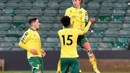 Todd Cantwell celebrates after scoring what proved to be the winning goal at Carrow Road. Picture: N
