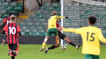 Premier League Cup action between Norwich City Under 23s V Bournemouth U23s.Todd Cantwell scores the