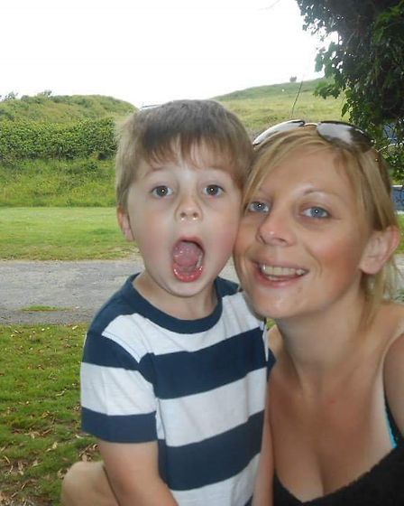 Becky Marsh with her son, William, six.