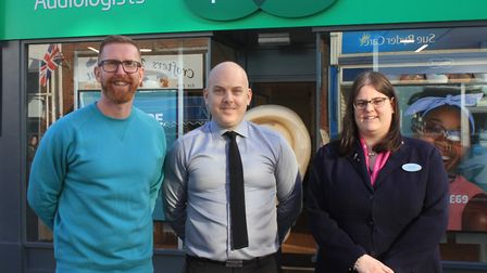 Former Norwich City footballer Iwan Roberts outside Sheringham's new Specsavers store with opthalmic