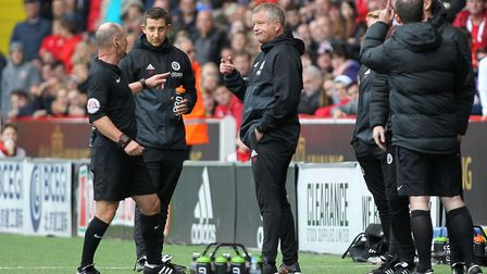 Chris Wilder was sent from the touchline is a fiery 1-0 defeat to Norwich earlier this season. Pictu