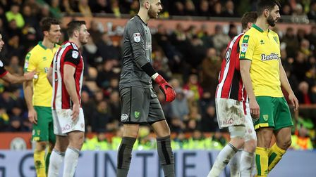Angus Gunn goes up for a late Norwich City corner - but can't prevent defeat to Sheffield United at
