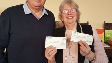 Andy Rackham presents Dianne Fernee with two £200 cheques. Picture: Andy Rackham