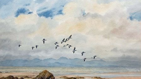 A watercolour by 20th-century British artist Elizabeth Gray entitled Barnacle Geese, which sold for