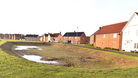 The giant crater that has been left by housing developers on Windmill Loke, North Walsham.Picture: N