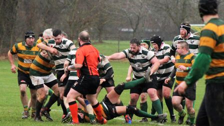 Action from Norwich Union Firebirds' match against Crusaders II, which Crusaders won 29-0. Picture: