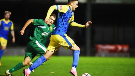 Action from King's Lynn's home win over this weekend's opponents Hitchin, back in October. Picture: