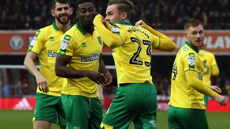 James Maddison is congratulated on scoring at Brentford. Picture by Paul Chesterton/Focus Images